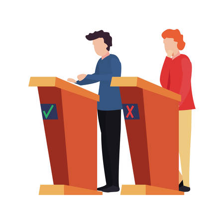quiz night - men in the stand game vector illustration