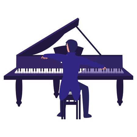 pianist playing piano character vector illustration design 向量圖像