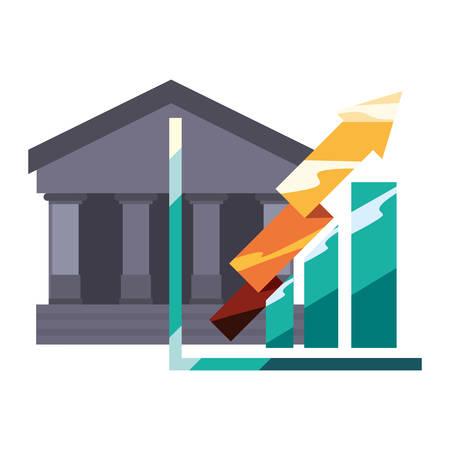 bank chart arrow finance on white background vector illustration