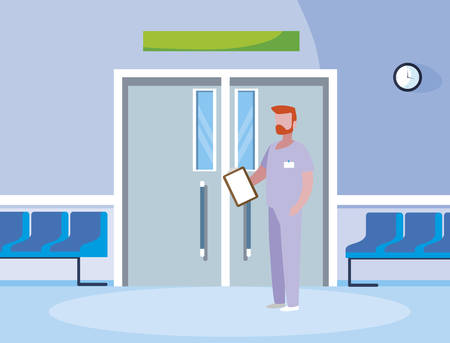male medicine worker with uniform in elevator door vector illustration design