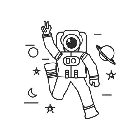 astronaut suit walking with set icons vector illustration design Çizim