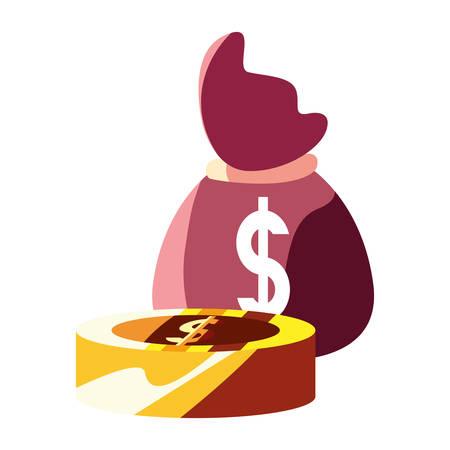 money bag coin dollar currency vector illustration
