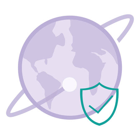 world planet earth with shield vector illustration design