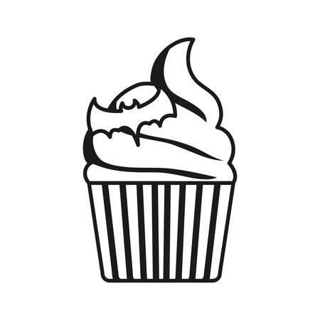 halloween cupcake with bat icon over white background, vector illustration Stock Illustratie