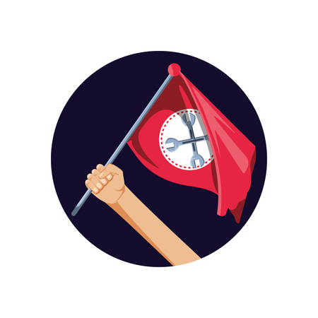 hand and flag with wrenches crossed vector illustration design