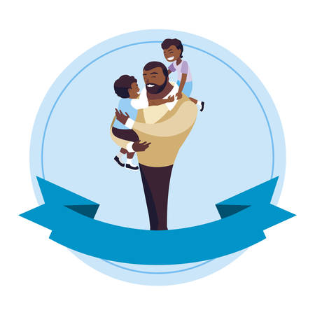 afro father with sons characters in frame vector illustration design Banque d'images - 129232222