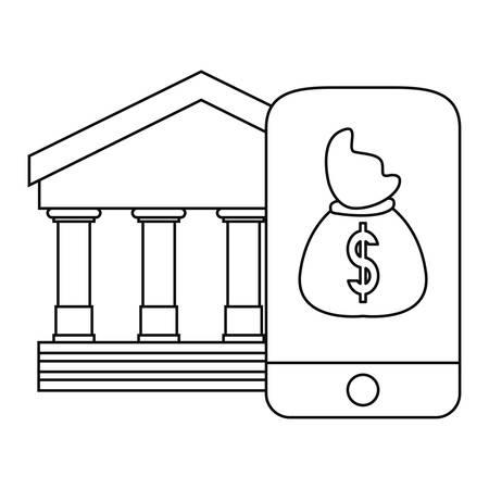 bank money bag cellphone app vector illustration