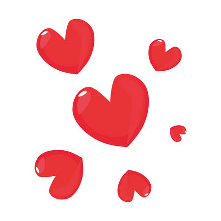 love hearts romantic on white background vector illustration