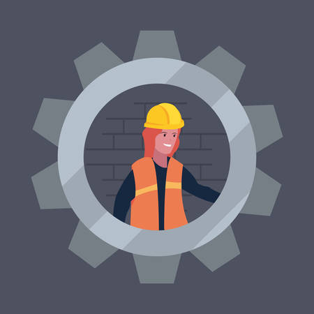 construction worker female gear vector illustration design