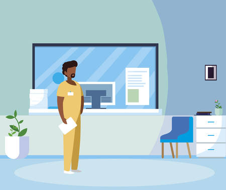 black male medicine worker in hospital reception vector illustration design