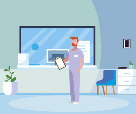 male medicine worker with uniform in hospital reception vector illustration design