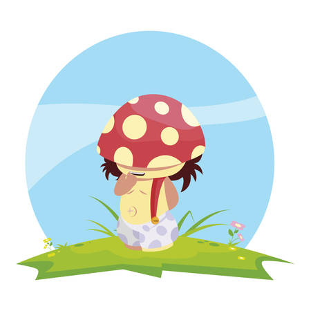 fungu elf in garden magic character vector illustration design Ilustracja