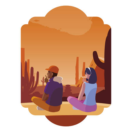couple contemplating horizon in the desert scene vector illustration design