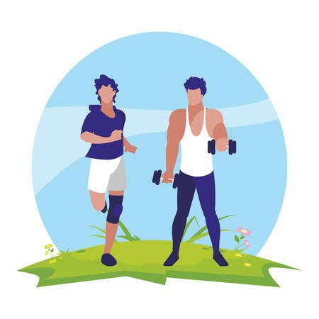 athletic men weight lifting and running in the camp vector illustration design