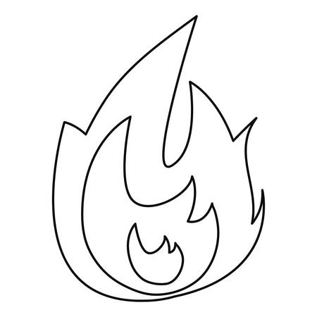 fire flame hot icon on white background vector illustration outline
