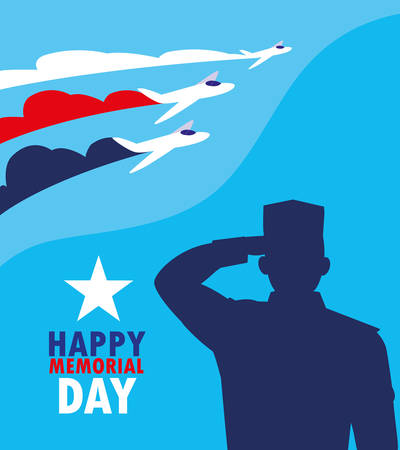 happy memorial day card with silhouette of military and airplanes vector illustration design 向量圖像