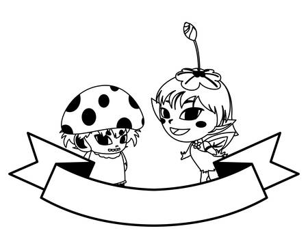 beautiful magic fairy and fungu elf characters vector illustration design Ilustracja