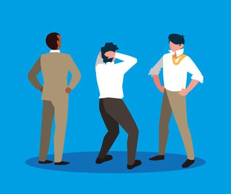 group of businessmen elegant avatar character vector illustration design 向量圖像