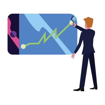 businessman with magnifier decrease report mobile app vector illustration