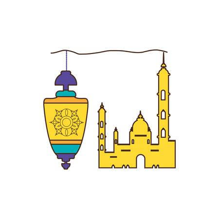 ramadan kareem lantern hanging with mosque building vector illustration design Illustration