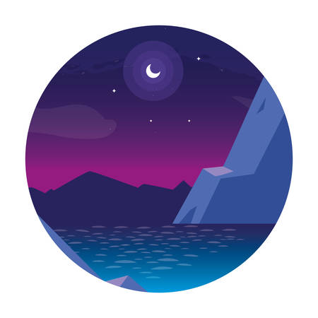 nightscape with lake in frame circular vector illustration design  イラスト・ベクター素材