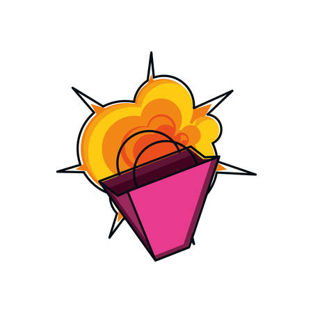 shopping bag with explosion isolated icon vector illustration design Illustration