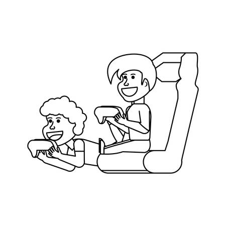 boys playing video game isolated icon vector illustration design Illustration
