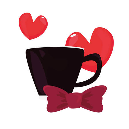 coffee cup bow tie heart love happy fathers day vector illustration