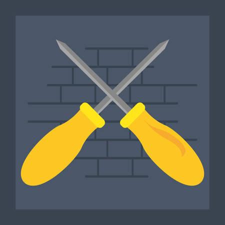 crossed screwdrivers tool wall brick vector illustration design