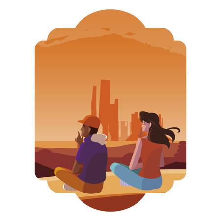couple contemplating horizon in the desert scene vector illustration design