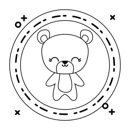 cute bear animal with frame circular vector illustration design Banque d'images - 129235384