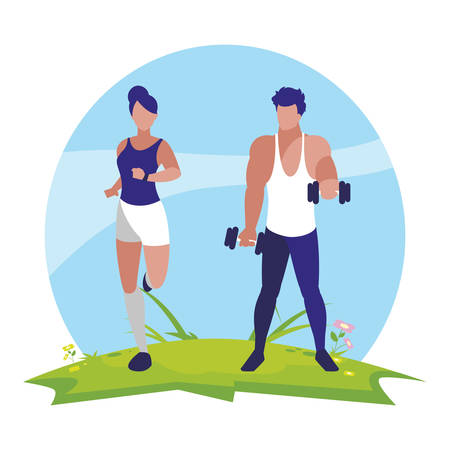 athletic man weight lifting and woman running in the camp vector illustration 일러스트
