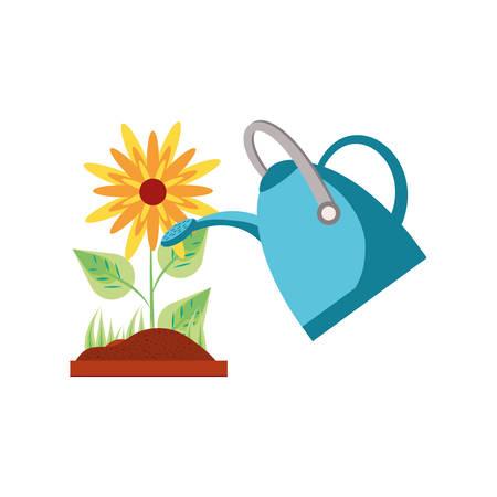 beautiful flower with sprinkler pot vector illustration design Illusztráció
