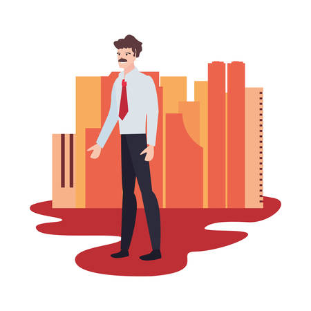 businessman standing city street background vector illustration