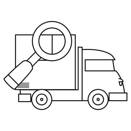 truck with cardboard box magnifier fast delivery vector illustration