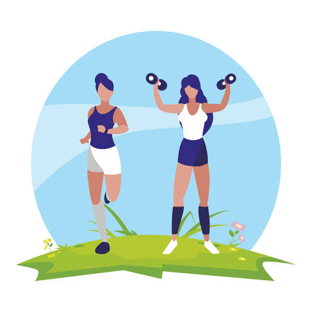 athletic women running and weight lifting in the camp vector illustration design 일러스트