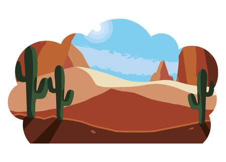desert dry with cactus landscape scene vector illustration design Фото со стока - 129236140