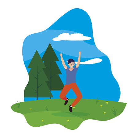 happy young man celebrating in the camp vector illustration design