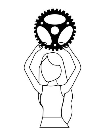 young woman with gear pinion vector illustration design
