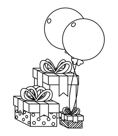 gift box present with balloons helium vector illustration design Ilustração