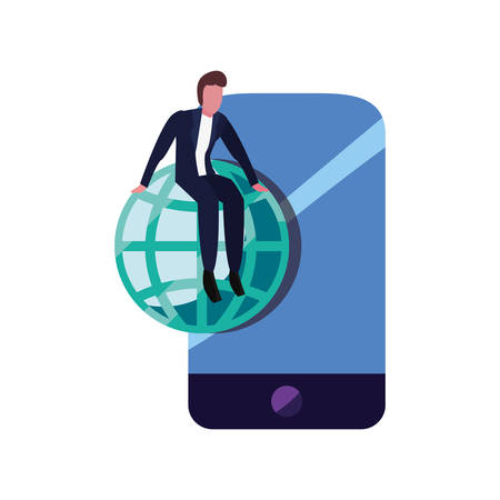 businessman cellphone world connection vector illustration vector illustration Çizim