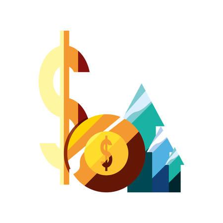 money dollar coin arrows business vector illustration