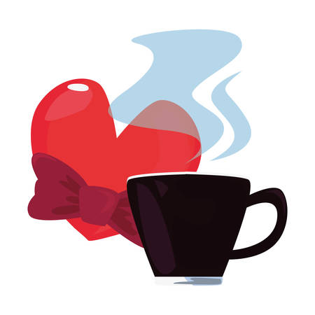 coffee cup love heart bow tie happy fathers day vector illustration Stock Illustratie
