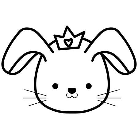 cute and little rabbit with crown character vector illustration design Stock Illustratie