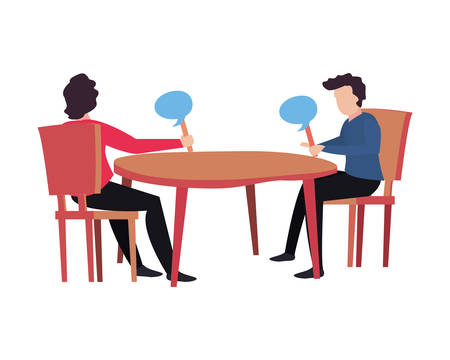 men playing quiz with speech bubble vector illustration