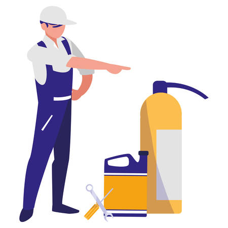 mechanic worker with extinguisher fire and oil gallon vector illustration design