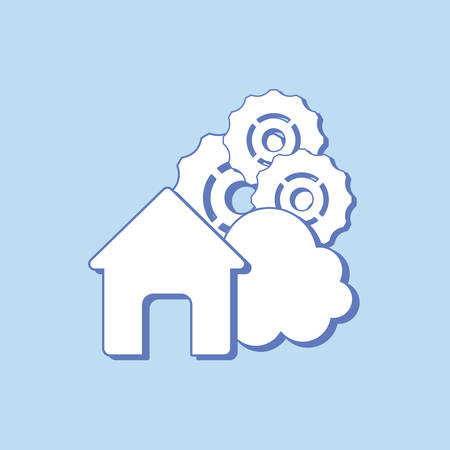 house with gear wheels and cloud over blue background, colorful linde design. vector illustration Foto de archivo - 129238467