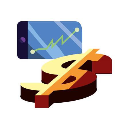 cellphone diagram economy dollar sign vector illustration