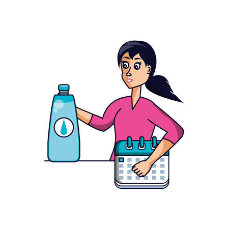 athletic woman with calendar and bottle of water vector illustration design