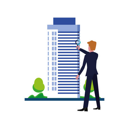 businessman with magnifier building street vector illustration